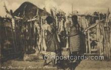 afr100489 - Pounding Meal in Mortar African Life Postcard Post Card