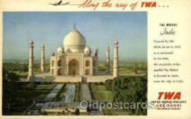 air001588 - Trans World Airline Taj Mahal Airplane, Airport Post Card, Post Card