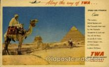air001597 - Trans World Airline Sphinx & Pyramids Airplane, Airport Post Card, Post Card