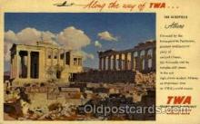 air001617 - Trans World Airline Acropolis, Athens, Greece Airplane, Airport Post Card, Post Card