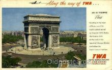air001627 - Trans World Airline Arc De Triomphe, Paris, France Airplane, Airport Post Card, Post Card