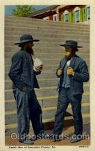 amh001003 - Amish Men Lancaster County, PA USA Amish Post Card, Post Card
