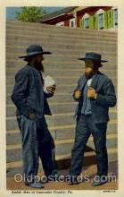amh001003 - Amish Men Lancaster County, PA USA Amish Post Card, Post Card