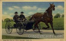 amh001013 - Amish Boys  Out for a Drive Amish Post Card, Post Card