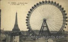 amp000006 - La Grande Roue et la Tour Eiffel, Paris, France Amusment Park, Fairgrounds, Postcard Post Card
