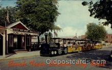 amp001167 - Conch Tour Train Along Poinciana Lined Street, Old Key West, FL USA Amusement Park Parks, Postcard Post Card