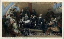 amr001001 - Embarkation of the Pilgrims from Delft Haven, July 22, 1620 American History Postcard Post Card