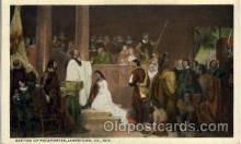 amr001002 - Baptism of Pocahontas 1613, Jamestown, Virginia, VA USA, American History Postcard Post Card