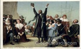 amr001020 - Landing of Pilgrims, Gisbert American History Postcard Post Card