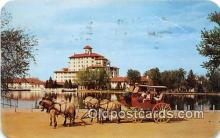 and000129 - Old Stagecoach at Broadmoor Norwegian Dun Horses, Broadmoor Hotel Postcard Post Card