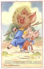 ani001134 - The fisherman, pigs Animal Postcard Post Card
