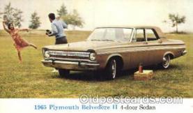 aut100187 - 1965 Plymouth Belvedere II, 4-door Sedan Auto, Automotive, Vehicle, Car, Postcard Post Card