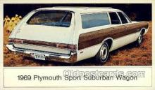 aut100219 - 1969 plymouth sport suburban wagon Automotive, Car Vehicle, Old, Vintage, Antique Postcard Post Card