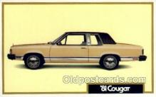 aut100245 - 1981 cougar Automotive, Car Vehicle, Old, Vintage, Antique Postcard Post Card