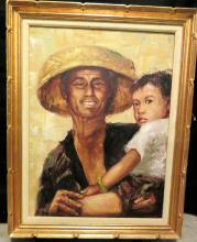 kkwong1 - Artist KK Wong, Oil Painting of Asian man holding child,  Painting is in Frame, Frame has little paint chips as seen on photos. canvas 24 inch x 18 inch, with frame 29 inch x 23 inch <br>  Here is some info on the artist.  1951 Born in Shanghai, China. 1966 Quits school altogether because of the Cultural Revolution. Has more time to study painting that has been declared politically unsuitable. Learns secretly to paint at home.  1970 Moved to the rural areas of Anhui Province and become a member of the local production corps.  1974 Settled in Hong Kong.  1979 First Solo Exhibition-- Portrait paintings, held at the City Hall of Hong Kong.  1980 A series of paintings on Biblical themes, executed in Asian style, featured in the Vengo IL Tuo Regno magazine of Italy.  1983 On tour of 70 days in England, France, Germany, Austria, Italy, and Greece.  1987 Became a member of the Hong Kong Artists' Guide.  1989 Travels across America during August followed by a brief sojourn in New York. Participated in a joint exhibition at the Lincoln Center, New York City, in September. Paintings exhibited at Santa Monica Merging Gallery, California, in December. An Exclusive Interview from PLAYBOY Magazine, by Xiao Yang Chung.  1990 Paintings exhibited at Southampton Garett Stephens Gallery, New York City, in June. Paintings exhibited at Galerie Marihube, uptown New York City, in October.  1991 Second Solo Exhibition at the Hong Kong Cultural Center, in May. Third Solo Exhibition at the Cosmos Ltd., Hong Kong, in August. Fourth Solo Exhibition at Shenzhen Museum of China, in July. An Exclusive Interview from ELLE Magazine, by Hui Hui.  1992 Fifth Solo Exhibition at Shanghai Oil Painting and Sculpture Institute of China, in April. Sixth Solo Exhibition Duo Yun Gallery of Shanhai, in May 1993 An Exclusive Interview from Marie Claire Magazine, by Natsumi Itoh, Japan.  1994 Exhibition entitled