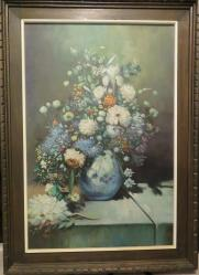 vgramos1 - Beautiful Oil Painting by Artist V.G. Ramos of Flowers in Vase. The Art canvas itself measures 36 in x 24 in.  With frame, 44 in x 31 in.  VG Ramos has painted many Indian Paintings. This is the first I have seen a different topic.