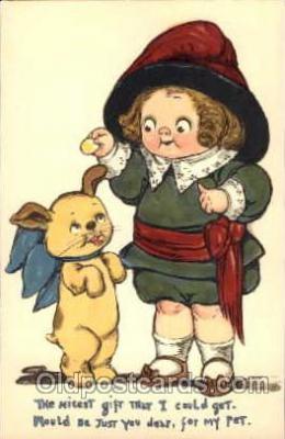 art014021 - Grace Drayton; Wiederseim Postcard; Feeding dog