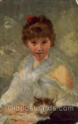 art100509 - Charles Joshua Chaplin Study of Young Lady Artist Signed Post Card Post Card
