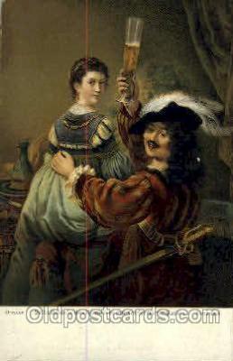 Rembrandt Selbstbildnis des Kunstlers mit Seiner Gattin Saskia Artist Signed Post Card Post Card