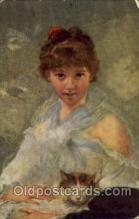 Charles Joshua Chaplin Study of Young Lady Artist Signed Post Card Post Card