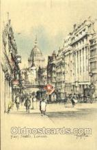 art202002 - Fleet Street, London, Artist Joseph Pike, Postcard Post Card