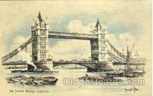 art202009 - The Tower Birdge, London, Artist Joseph Pike, Postcard Post Card