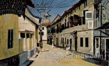 art203061 - Jew Town in Cochin, India, Artist Signed Morris Katz Judaic, Judaica, Postcard Post Card
