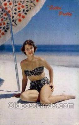 bea001202 - Sittin pretty Bathing Beauty Old Vintage Antique Postcard Post Card