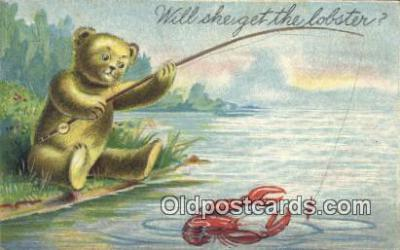 ber001724 - Will She Get the Lobster, Bear Postcard Post Card Old Vintage Antique