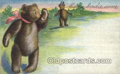 ber001841 - Come Birdie Come Ottoman Lithographing Bears, Co. NY, Bear Postcard Bears, tragen postkarten, sopportare cartoline, soportar tarjetas postales, suportar cartões postais