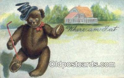 ber001842 - Where Am I At Ottoman Lithographing Bears, Co. NY, Bear Postcard Bears, tragen postkarten, sopportare cartoline, soportar tarjetas postales, suportar cartões postais