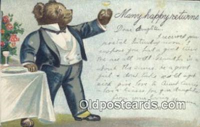 ber001847 - Many Happy Returns Ottoman Lithographing Bears, Co. NY, Bear Postcard Bears, tragen postkarten, sopportare cartoline, soportar tarjetas postales, suportar cartões postais