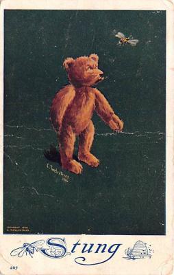 ber007015 - Bear Post Card Old Vintage Antique