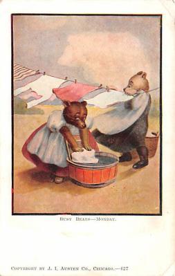 ber007103 - Bear Post Card Old Vintage Antique