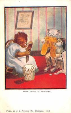ber007105 - Bear Post Card Old Vintage Antique