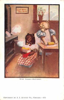 ber007109 - Bear Post Card Old Vintage Antique