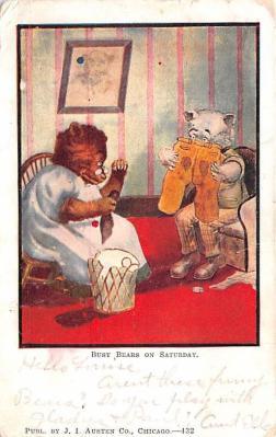 ber007119 - Bear Post Card Old Vintage Antique
