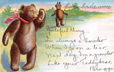 ber007127 - Bear Post Card Old Vintage Antique