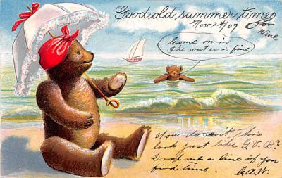 ber007133 - Bear Post Card Old Vintage Antique