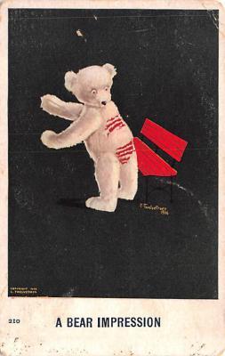 ber007155 - Bear Post Card Old Vintage Antique