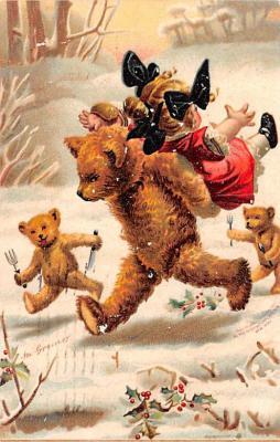 ber007165 - Bear Post Card Old Vintage Antique