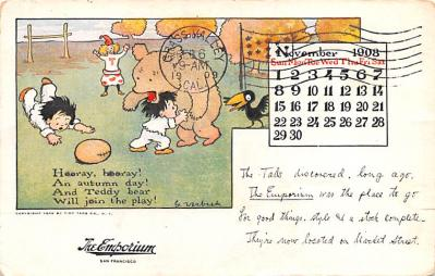 ber007383 - Bear Post Card Old Vintage Antique