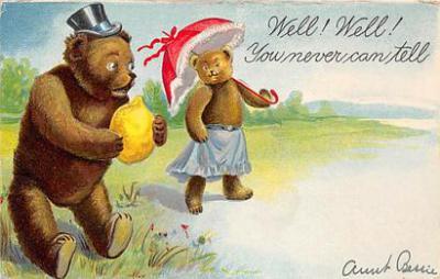 bev006107 - Bears Postcard Old Vintage Antique Post Card