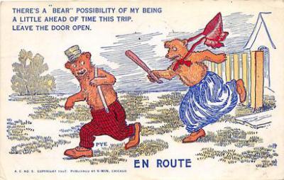 bev006110 - Bears Postcard Old Vintage Antique Post Card