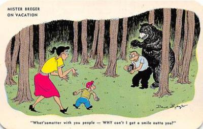 bev006130 - Bears Postcard Old Vintage Antique Post Card