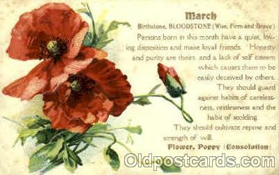 bir001029 - March Birth Stone Postcard Post Card