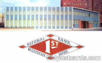 bnk001006 - First National Bank in Meridan, Mississippi, USA Postcard Post Card