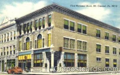 bnk001012 - First National Bank, Mt. Carmel, Pennsylvania, USA Postcard Post Card