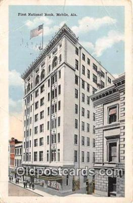 bnk001095 - First National Bank Mobile, Alabama, USA Postcard Post Card