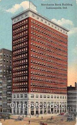 bnk001109 - Merchants Bank Building Indianapolis, Indiana, USA Postcard Post Card